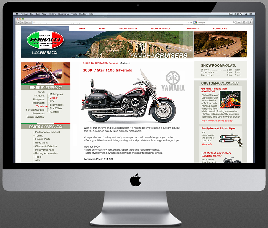 Website design for Ferracci motorsports